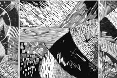 «Сотворение 2», триптих, 2004, X3, 32x63