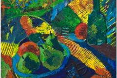 """""""Натюрморт с грушами"""", 2011, бум./смеш. техника, 32x32"""
