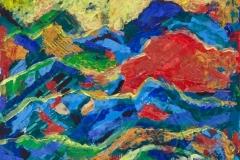 """""""Солнце за горами"""", 2011, бум./смеш. техника, 32x32"""