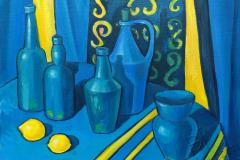 «Натюрморт в синих тонах», 2018, х/м, 50х60