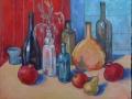 «Натюрморт с бутылками и фруктами», 2014, х/м, 40х50